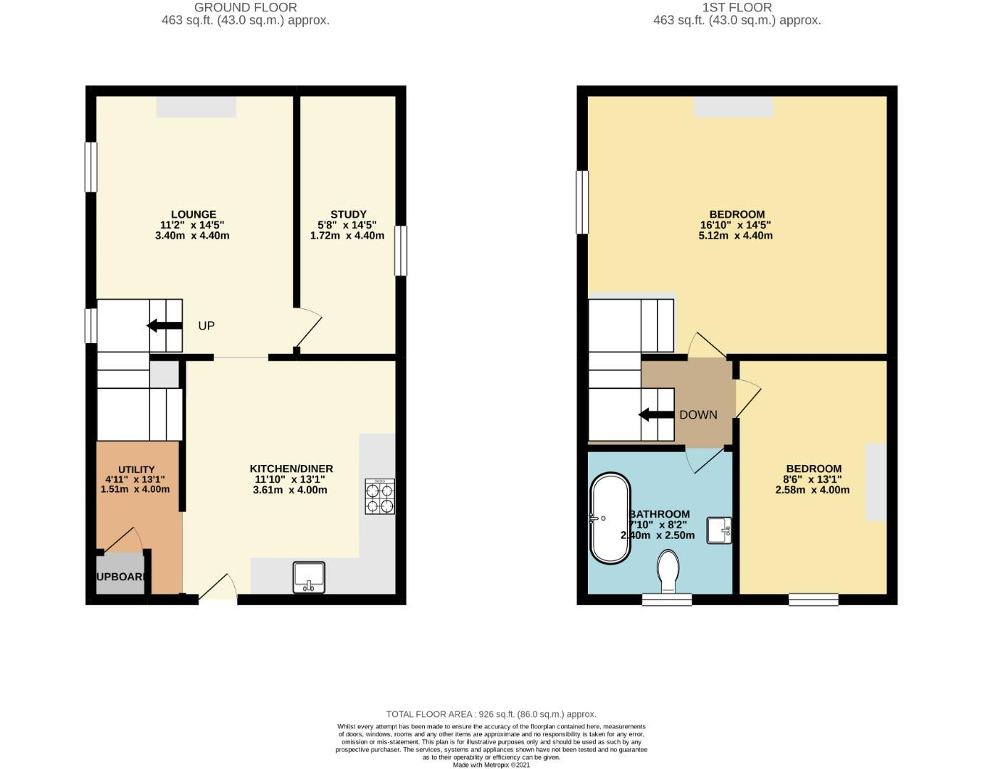Floorplans For Nutshell Cottage , Pittoms Lane, Barby, RUGBY